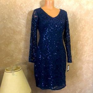 Navy sequins and lace evening dress
